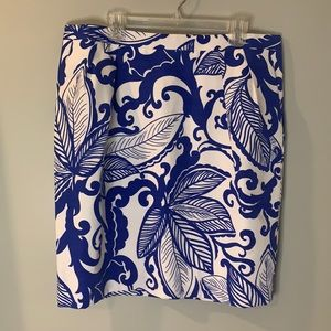 Attention Blue and White Pattern MIDI Skirt.